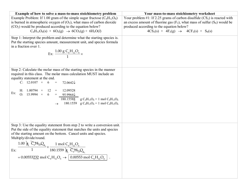 Example Of How To Solve A Mass To