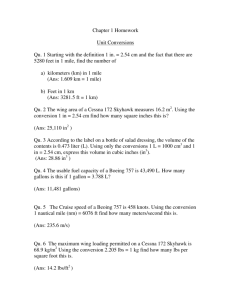 Chapter 1 Homework Unit Conversions Qu. 1 Starting with the