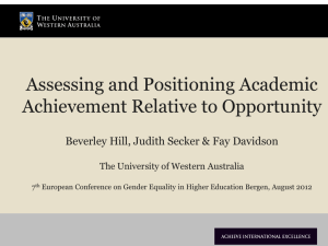 Assessing and Positioning Achievement Relative to Opportunity