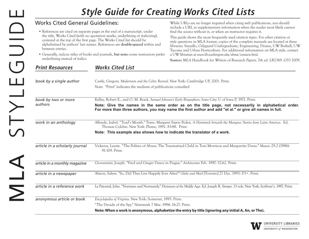 mla style guide  rh   studylib