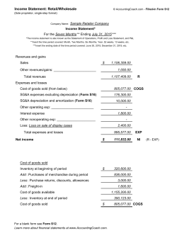 Income Statement: Retail/Wholesale
