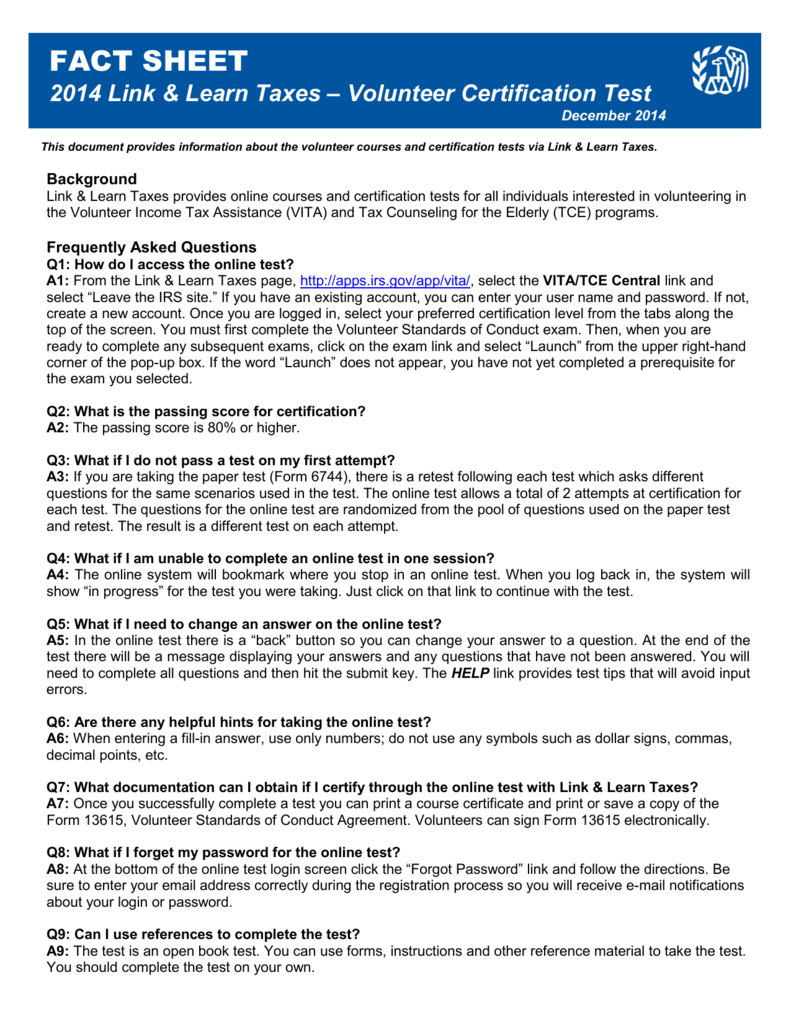 Link Learn Taxes Volunteer Certification Fact Sheet