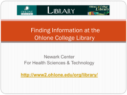 Finding Information at the Ohlone College Library