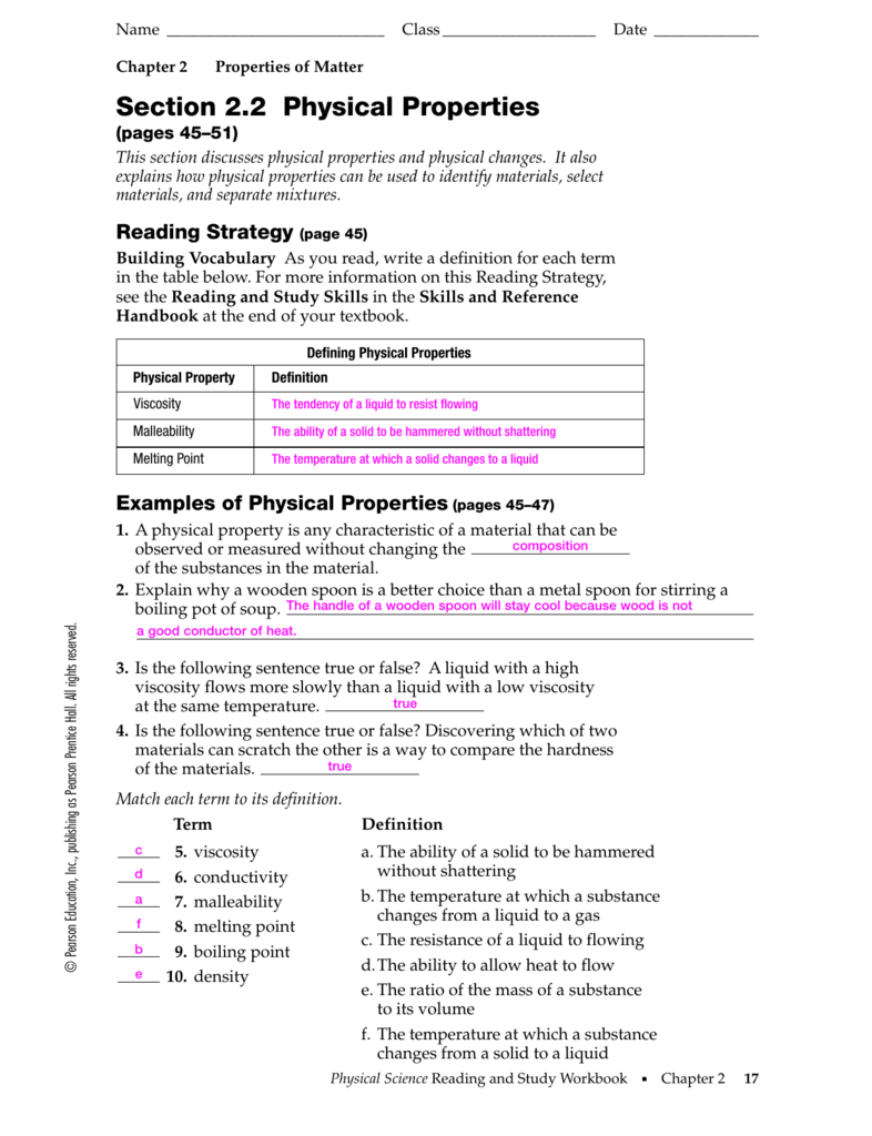 Chapter 2 Matter And Change Worksheet Answers Pearson ...