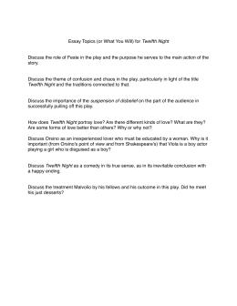 Twelfth Night Essay Prompts For Final Exam Project Twelfth Night Essay Topics