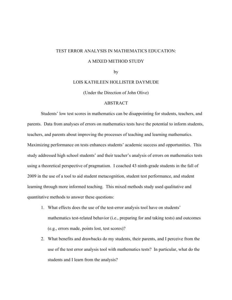 test error analysis in mathematics education a rh studylib net