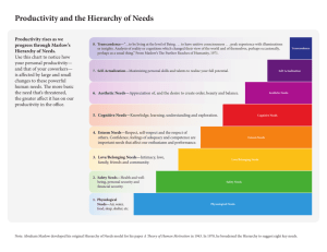 Productivity and the Hierarchy of Needs