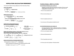 Population Calculation Worksheet