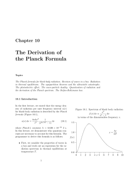 The Derivation of the Planck Formula