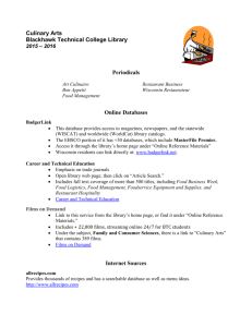 CulinaryArts - Blackhawk Technical College