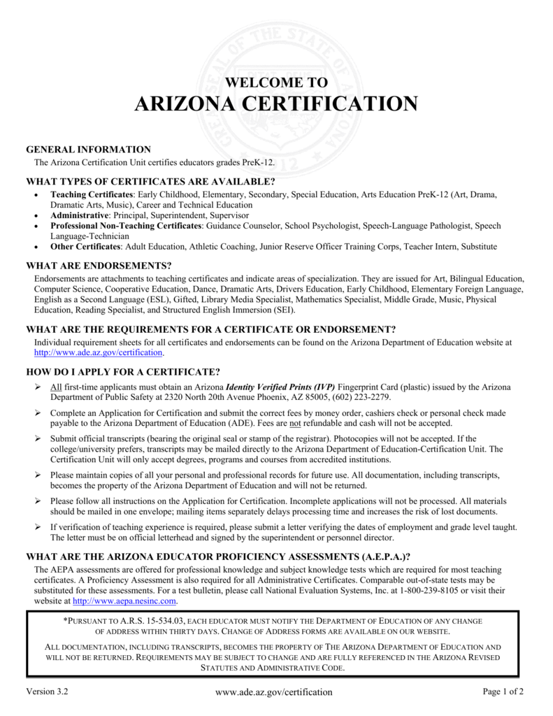 Welcome To Arizona Certification