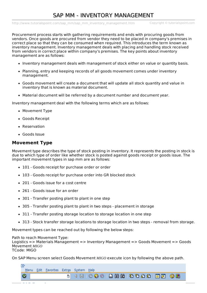 SAP MM - Inventory Management