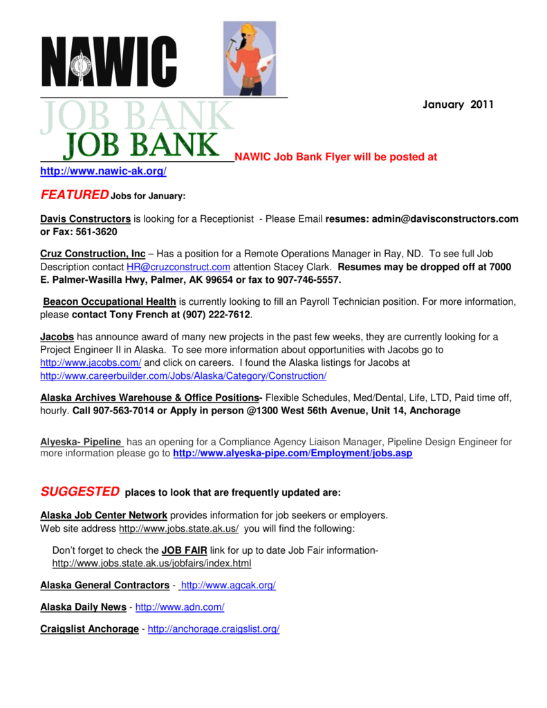 nawic job bank flyer will be posted at http://www.nawic