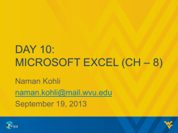 DAY 10: MICROSOFT EXCEL (CH – 8)