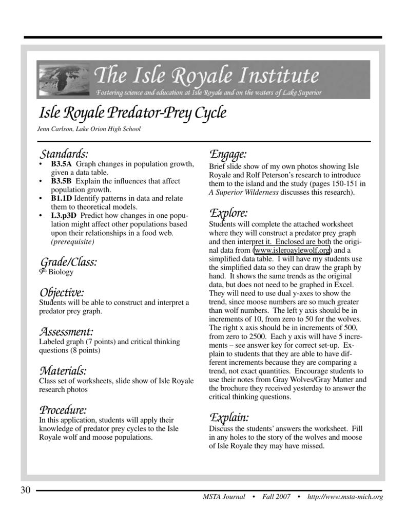 isle royale population study lab answers