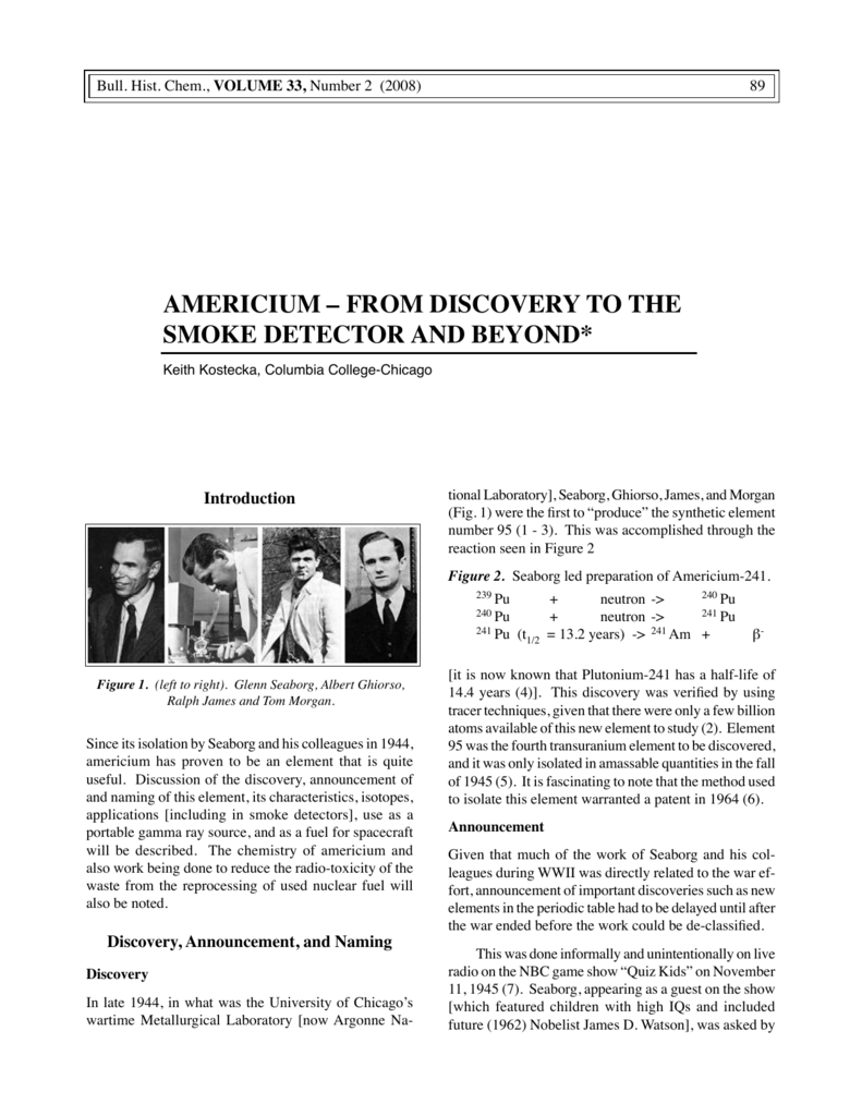 An Important Discovery Related To >> Americium From Discovery To The Smoke Detector And Beyond