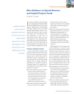 New Guidance on Special Revenue and Capital Projects Funds