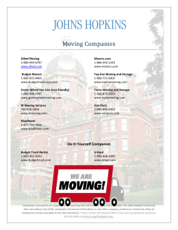 Moving Companies - Johns Hopkins University School of Nursing