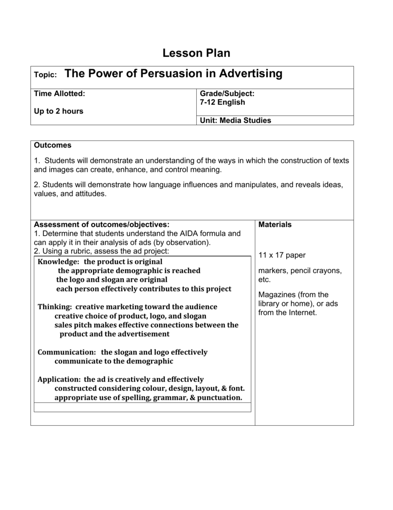 Lesson Plan Topic: The Power of Persuasion in Advertising