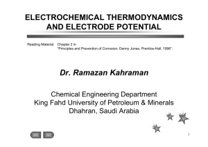 ELECTROCHEMICAL THERMODYNAMICS AND ELECTRODE