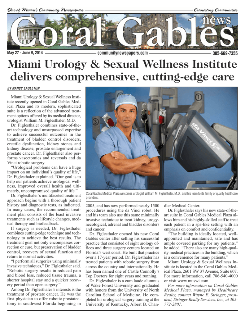 Coral Gables News - Miami Urology & Sexual Wellness Institute