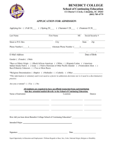 Application for Admission to Continuing