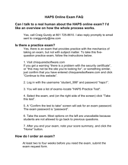 HAPS Online Exam FAQ Can I talk to a real human about the HAPS
