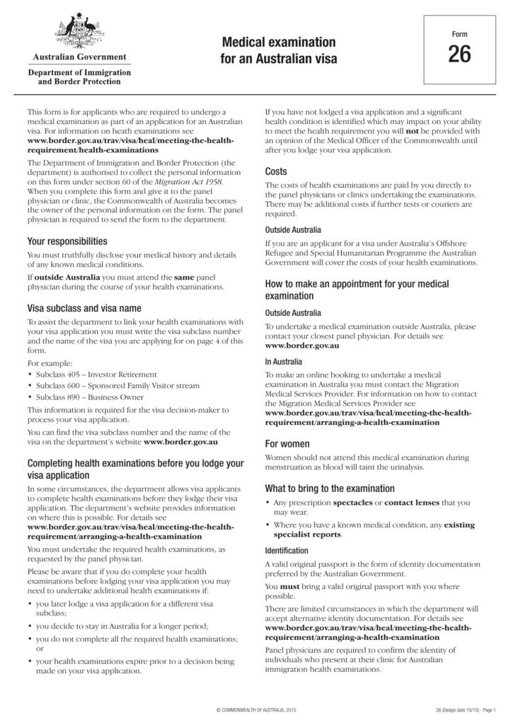 Form 26 – Medical examination for an Australian visa