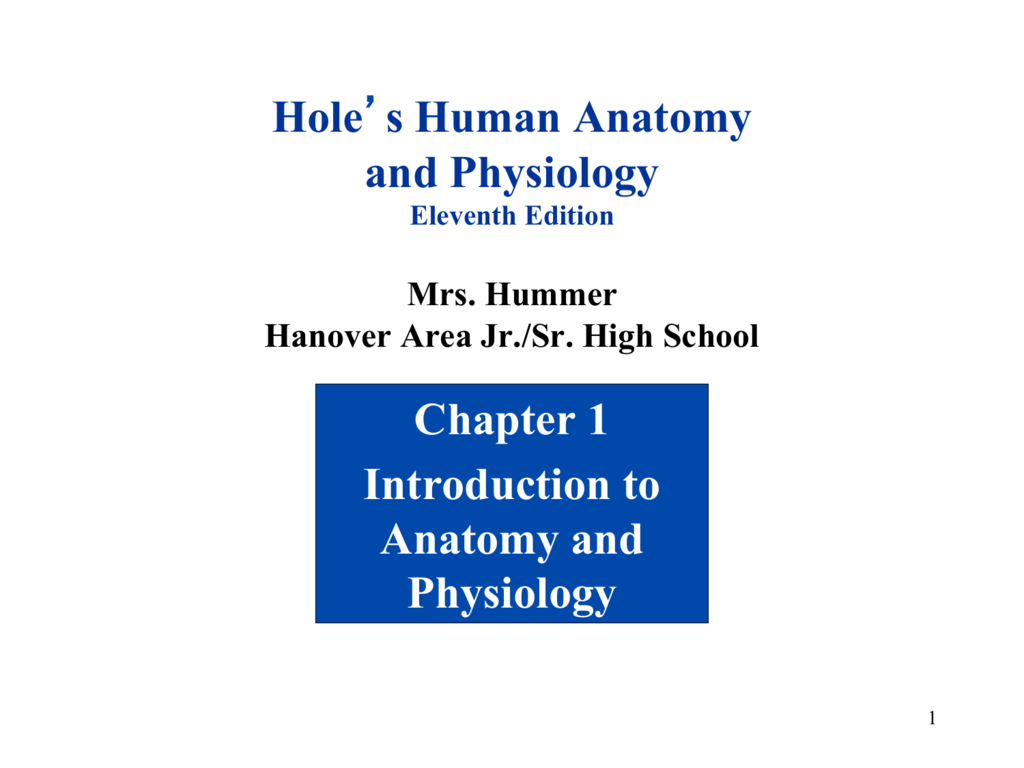Hole\'s Human Anatomy and Physiology Chapter 1 Introduction to