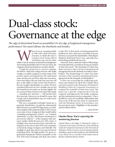 Dual-class stock: Governance at the edge