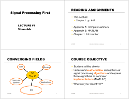Signal Processing First READING ASSIGNMENTS CONVERGING