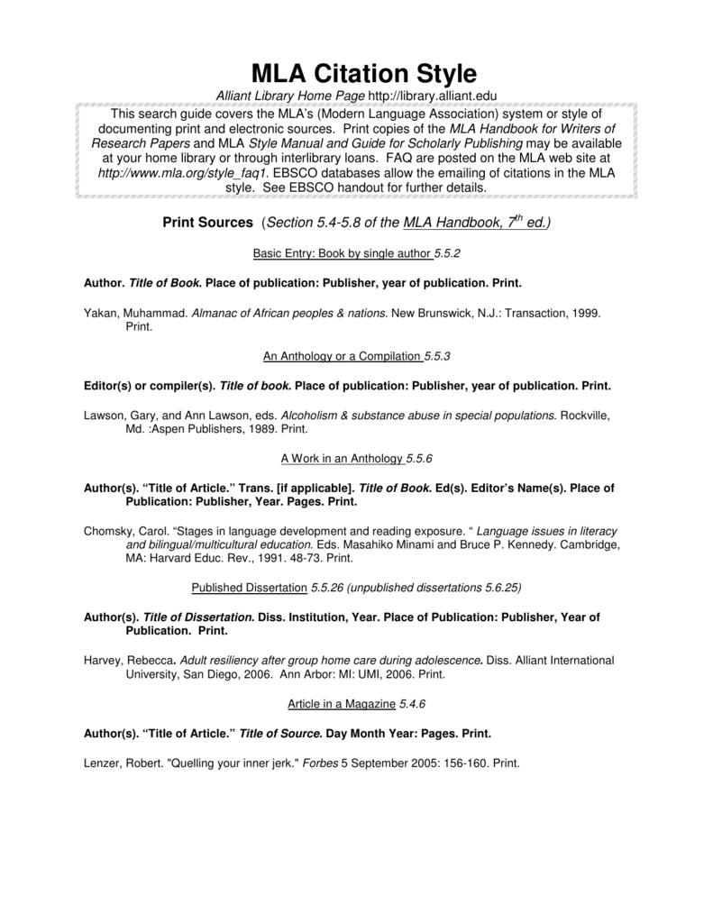 Mla Citation Style Alliant International University Library Dissertation