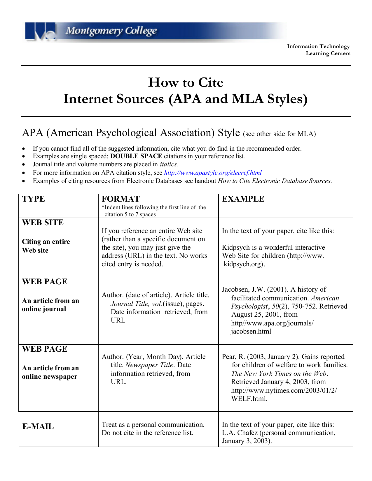 How To Cite Internet Sources Apa And Mla Styles
