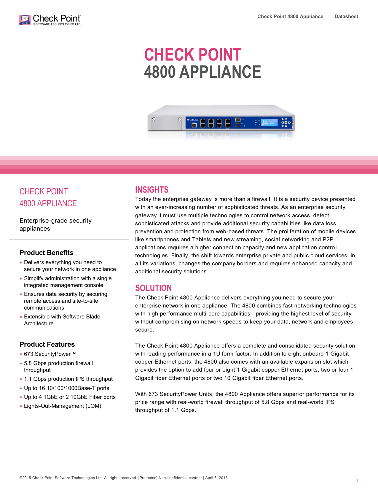 4800 Appliance Datasheet - Check Point Software Technologies