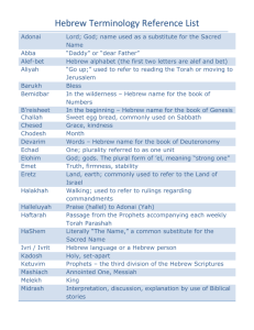 Hebrew Terminology Reference List