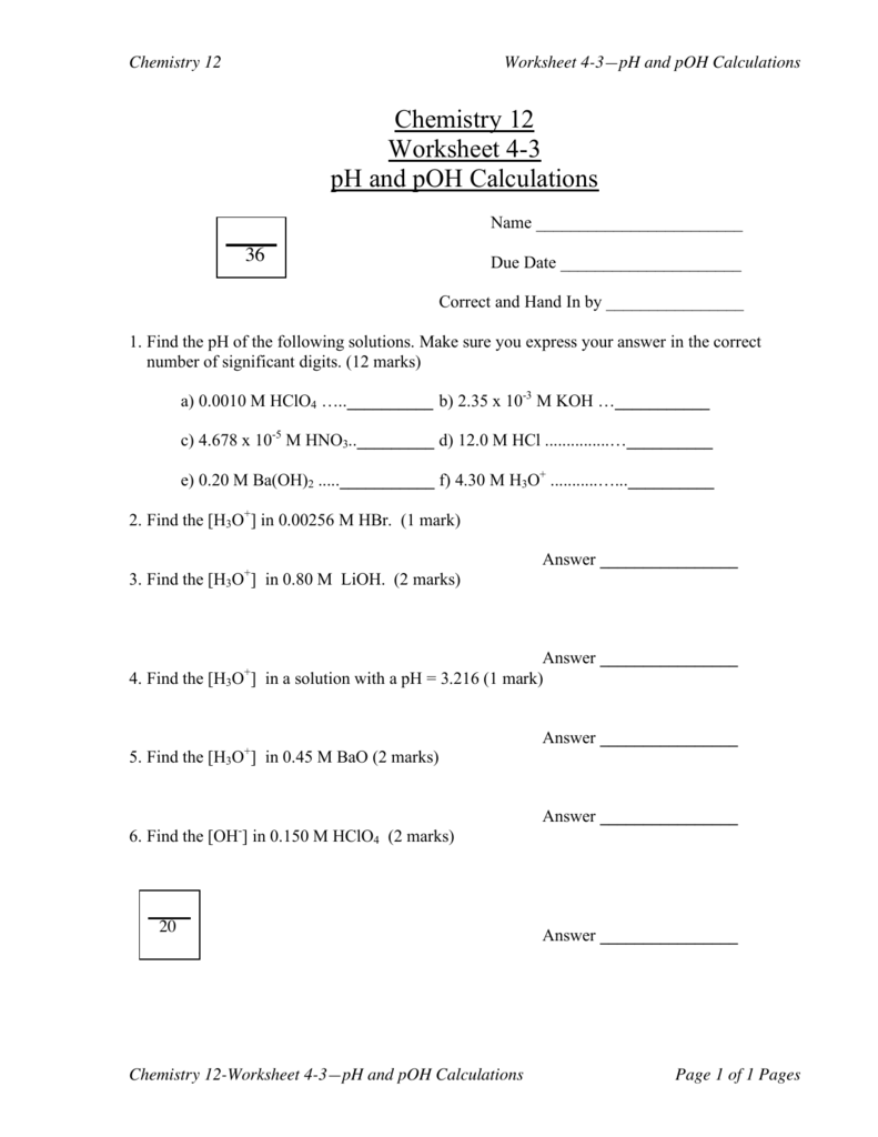 worksheet Ph And Poh Calculations Worksheet Answers chemistry 12 worksheet 4 3 ph and poh calculations