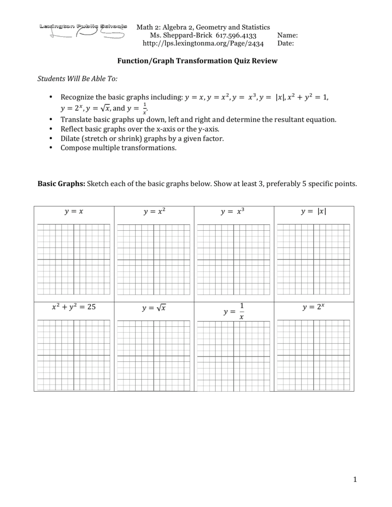 Function Graph Transformations Quiz Review