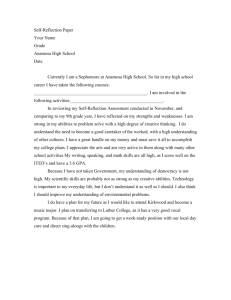 Self-Reflection Paper Your Name Grade Anamosa High School