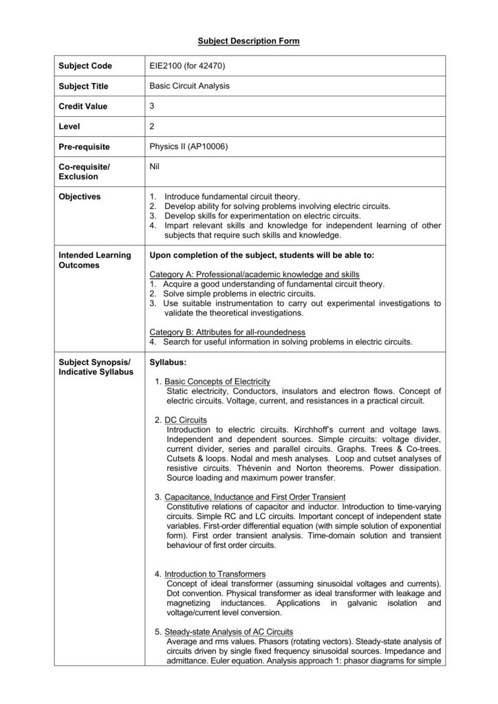 Subject Description Form Subject Code EIE2100 (for 42470) Subject
