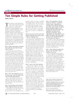 Ten Simple Rules for Getting Published - www2.mpip
