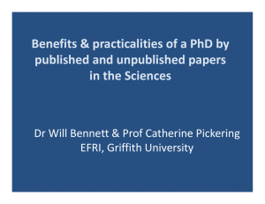 Benefits & practicalities of a PhD by published and unpublished