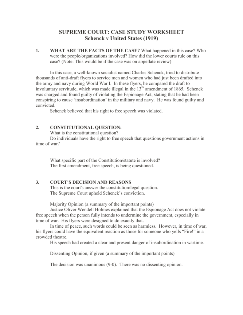 Supreme Court Case Analysis Worksheet Geersc