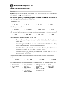 Investor Risk Profiling Questionnaire
