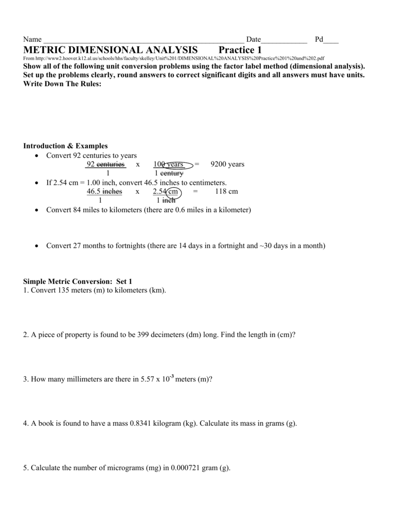 Dimensional Analysis And Conversion Of Units Worksheet ...