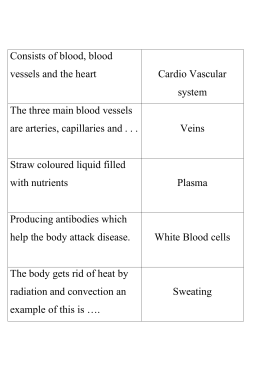 Consists of blood, blood vessels and the heart Cardio Vascular