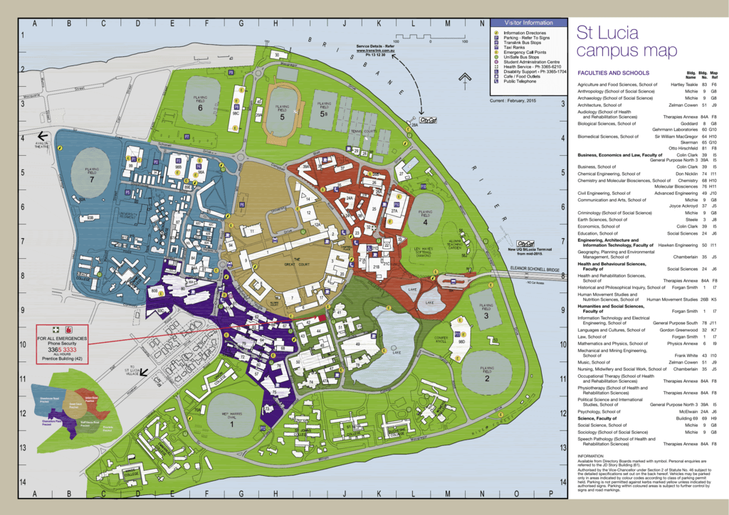 Goddard Campus Map.St Lucia Campus Map Property And Facilities Division