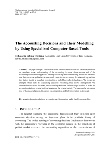 The Accounting Decisions and Their Modelling by Using