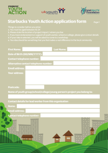 Starbucks Youth Action application form