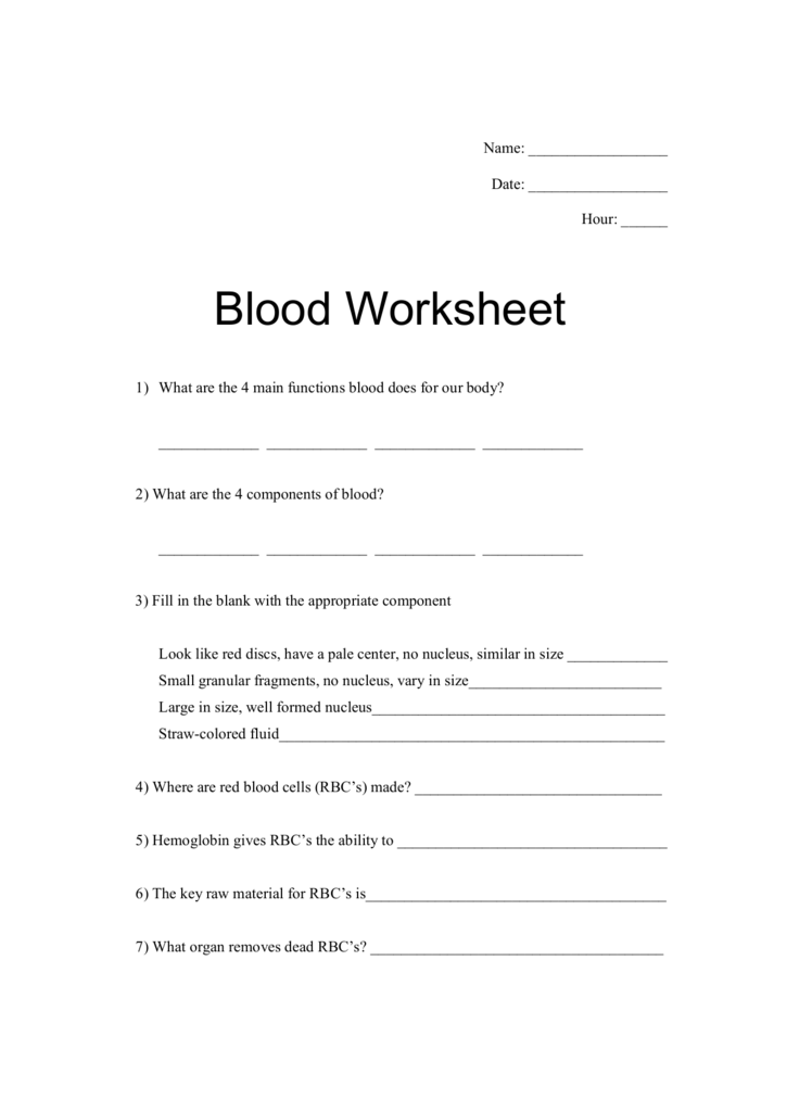 collection of blood composition worksheet bluegreenish. Black Bedroom Furniture Sets. Home Design Ideas