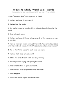 Ways to Study Word Wall Words